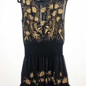 Free People Sheer Embroidered Sleeveless Blouse